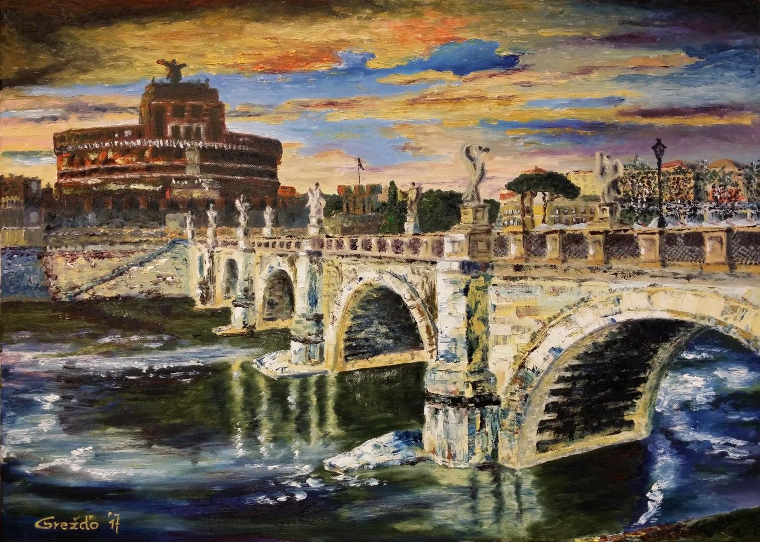 Anjelský hrad a most (Rím) – olej na plátne – 50cm x70cm