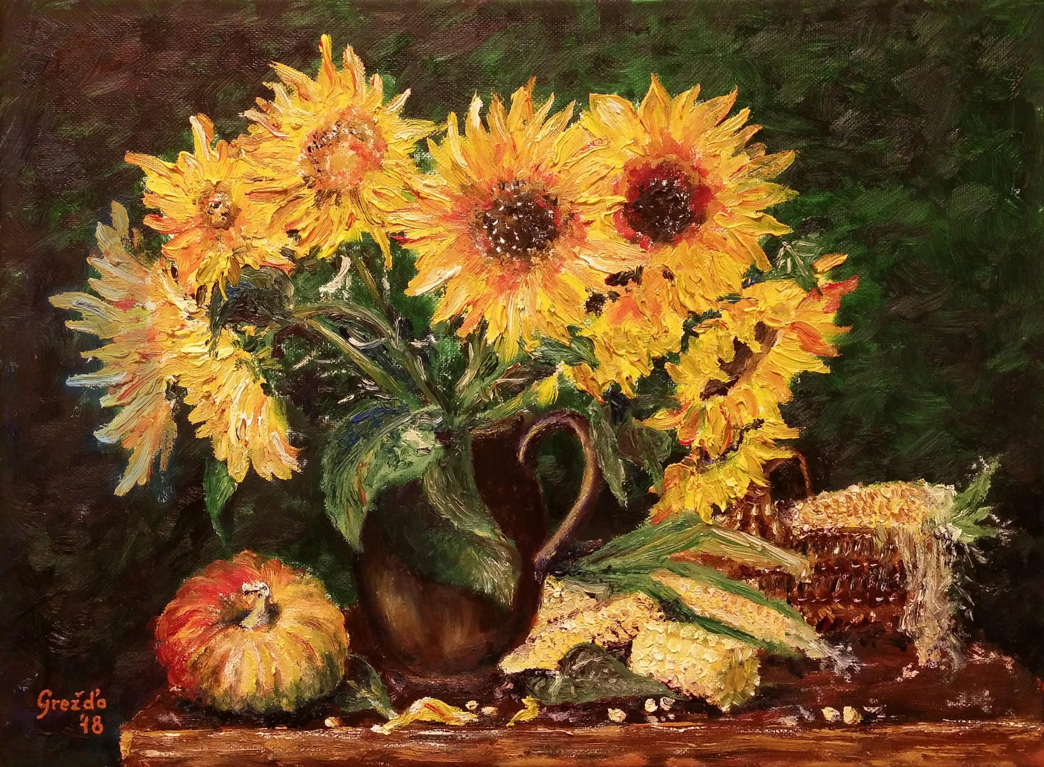 Zátišie so slnečnicami a kukuricou